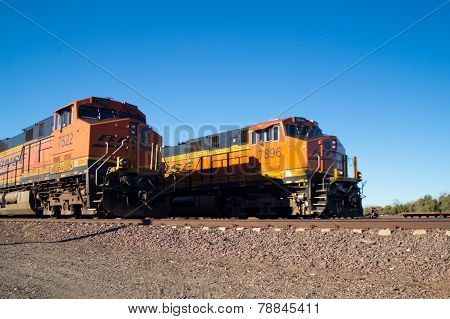 Two BNSF Freight Train Locomotives No. 7522 and 7896
