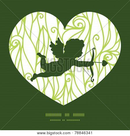 Vector abstract swirls texture shooting cupid silhouette frame pattern invitation greeting card temp