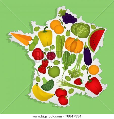 Map Of France With Fruits
