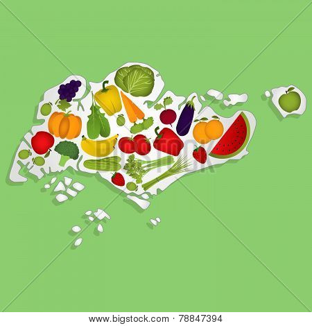 Map Of Singapore With Fruits