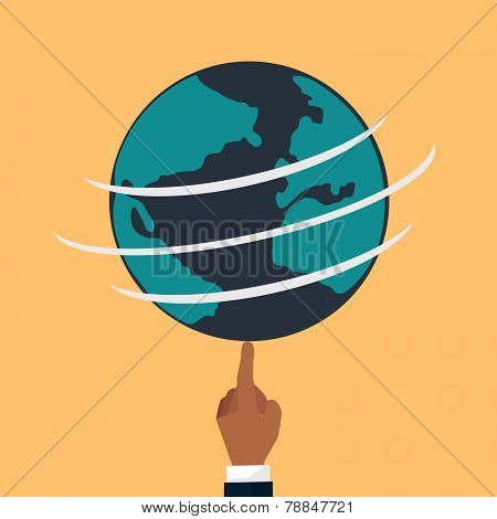 Globe Earth Flat. Vector