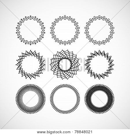 Set of vector lace frames design templates. Graceful lineart logo design elements