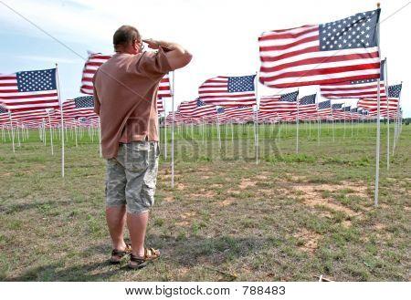 Man saluting flags
