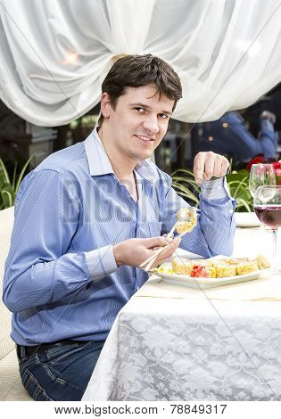 one young man dines