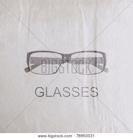 vector illustration of engraving glasses on the old wrinkled paper texture. fashion sketch