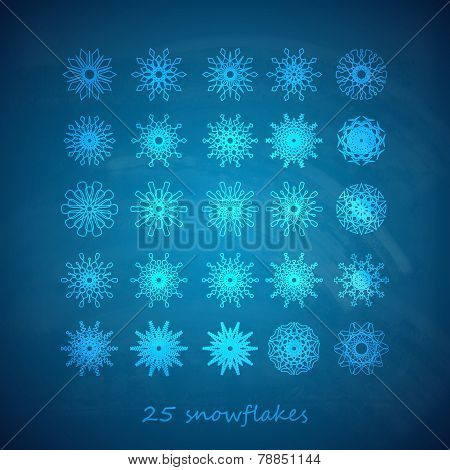 vector set of 25  graceful snowflakes on the blue frosty background