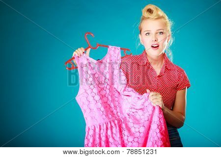 Pinup Girl Woman Buying Pink Dress. Sale