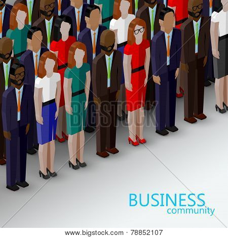 vector 3d isometric  illustration of business or politics community. a large group of well-dresses b