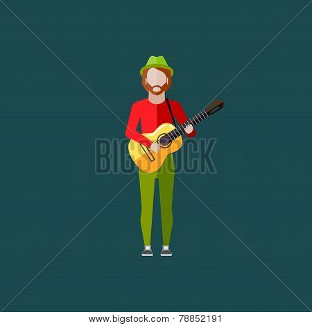 vector flat  illustration of a musician guy with the guitar. music performance concept