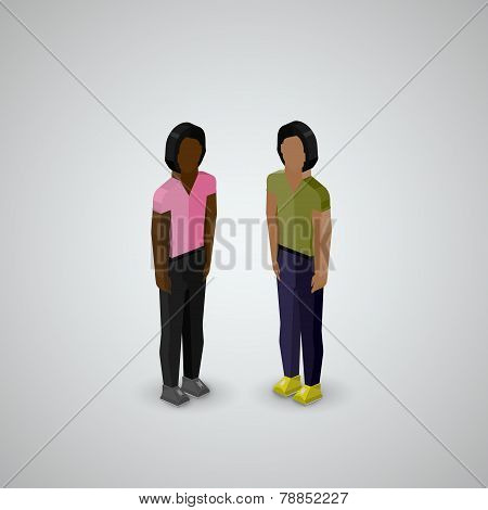 vector 3d isometric illustration of men or guys wearing casual style clothes