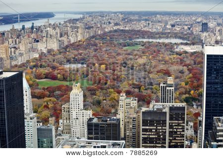 Manhattan Buildings And Central Park At Fall.