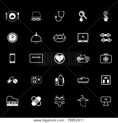 Quality Life Line Icons On Gray Background