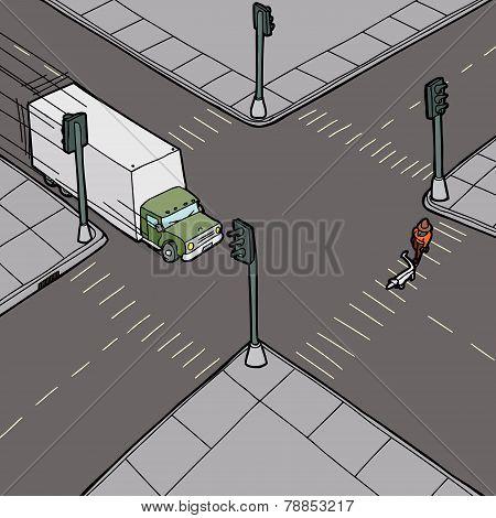 Truck Driving Into Pedestrian