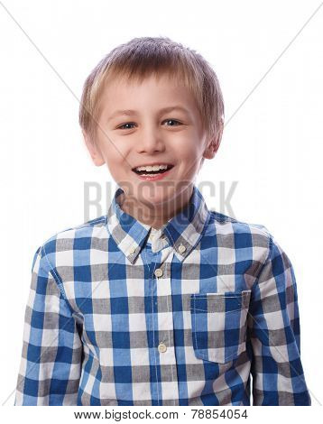 Boy laughs, 8 years old, isolated on a white background