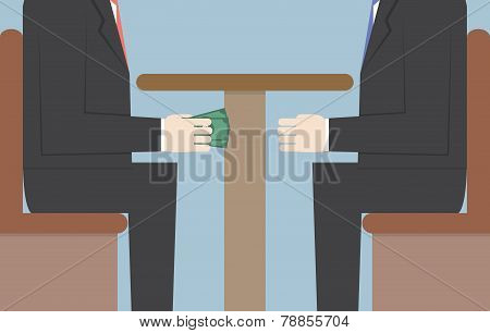 Two Businessmen Passing Money Under The Table, Bribery, Corruption Concept