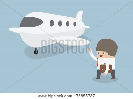 Businessman With Baggage Walking Towards Private Jet