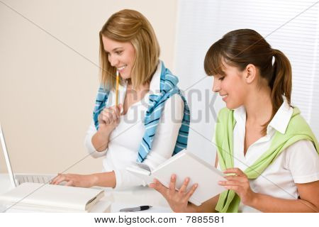 Student At Home - Two Woman With Book And Laptop