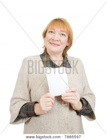 Senior Woman Holding On Empty Notebook