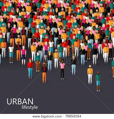 vector flat illustration of male community with a crowd of guys and men. urban lifestyle concept