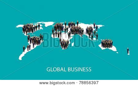 vector flat illustration of business people standing on the world global map shape. infographic glob
