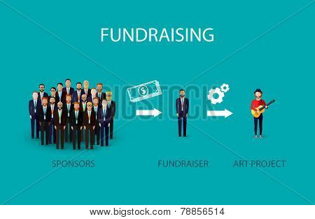 vector flat illustration of an infographic fundraising concept. a group of business men giving money