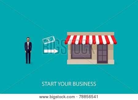 vector flat illustration of an infographic business concept. businessman starts his own business. st