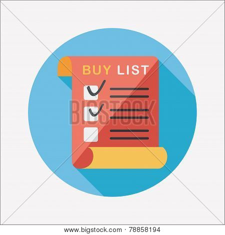Shopping List Flat Icon With Long Shadow,eps10