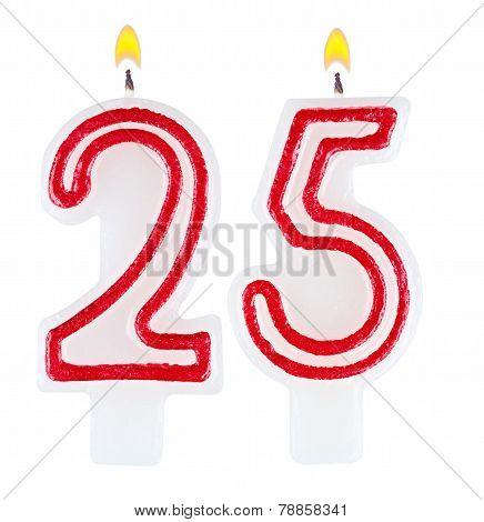 Birthday Candles Number Twenty Five Isolated