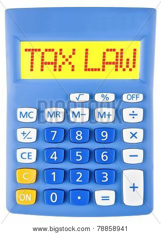 Calculator With Tax Law On Display