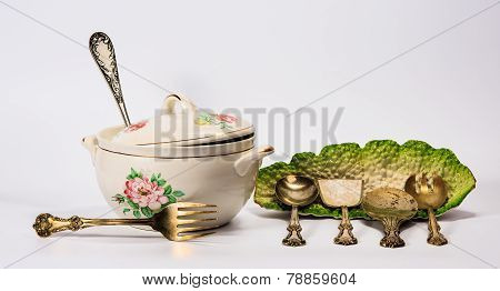 Set Of Dishware And Utensil