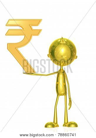 Golden Character With Rupees Sign