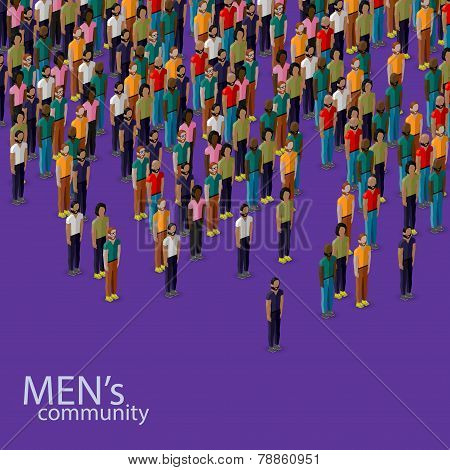 vector 3d isometric illustration of male community with a crowd of guys and men. urban lifestyle con