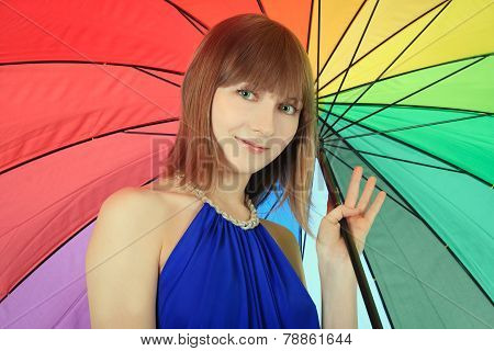Fashion Blondie Posing With Color Umbrella