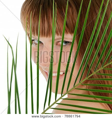 Pretty Female Behind Palm Leaf Over White