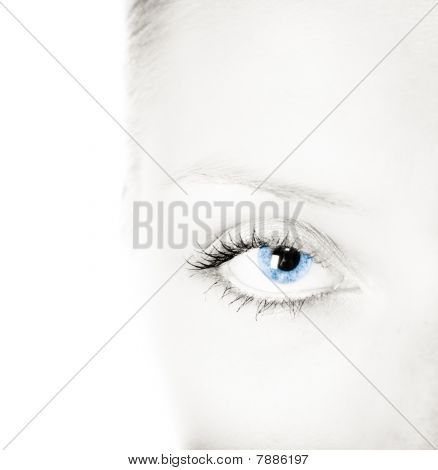 Woman Blue Eye And Black White Face
