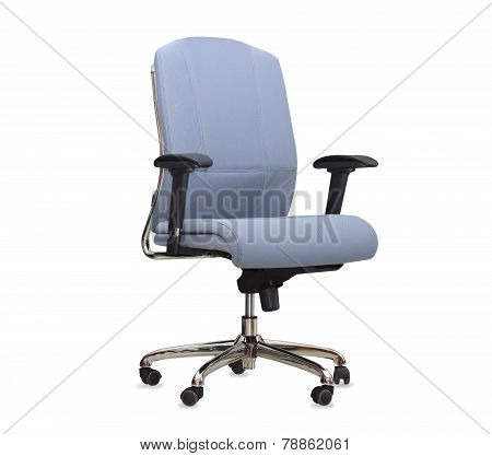 The Blue Cloth Office Chair Isolated Over White