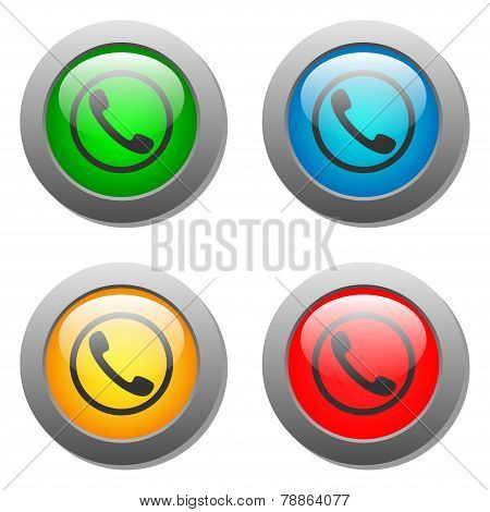 Phone handset icon set on glass buttons