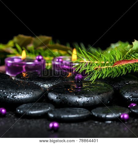 Beautiful Winter Spa Concept Of Zen Basalt Stones With Drops, Lilac Candles, Beads And Evergreen Bra