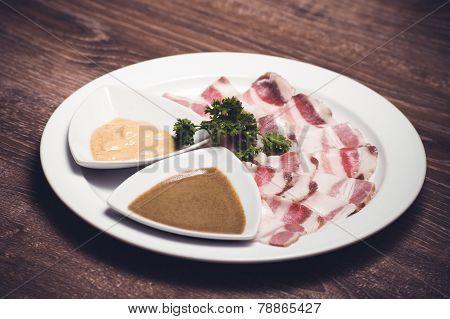 Slised Salo Porc Fat Bacon