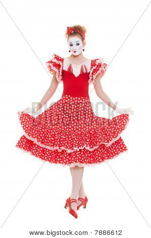 Beautiful Mime In Red Dress