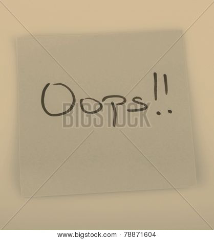 Sticky Note Message Isolated On White - Oops!