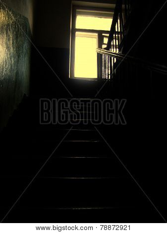 Staircase of an old deserted house in Ukraine