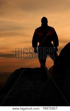 Mountain-skier. Sunset.