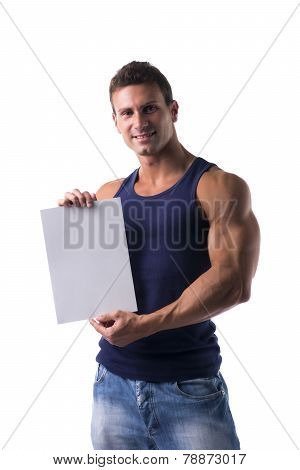 Handsome Muscular Man Holding A Blank Sign