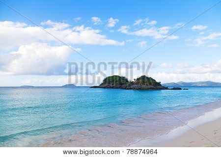 Tropical destination at Trunk Bay beach St John Island.