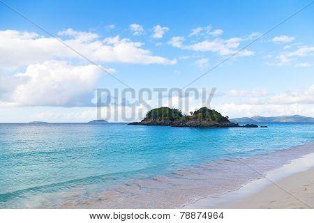Tropical destination at Trunk Bay beach St John Island.