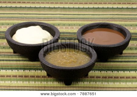 Salsa Verde,salsa Roja And Sour Cream