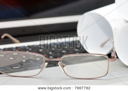 Glasses On The Laptop