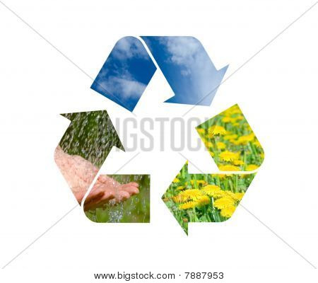 Conceptual Recycling Sign With Images Of Nature