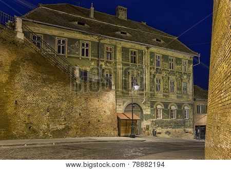 Street at night in Sibiu, Romania.